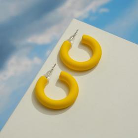 """Серьги-кольца """"Эстетик"""" круг, цвет матовый жёлтый, d=2,5см"""