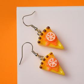 """Серьги ассорти """"Вкусняшки"""" апельсиновый торт, цвет жёлто-оранжевый в серебре"""