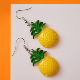 """Серьги ассорти """"Вкусняшки"""" ананасик, цвет жёлто-зелёный в серебре"""