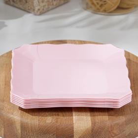 Набор квадратных тарелок «Волна», 6 шт, 18×18 см, цвет МИКС
