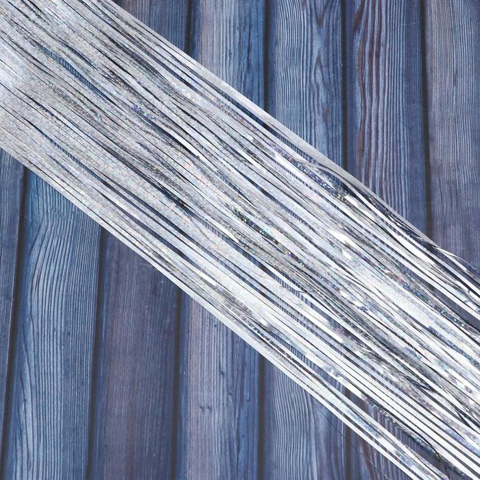 Дождик голографический дл. 50 см, шир. 2 мм, серебро