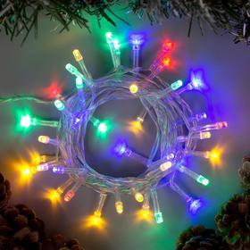 """Гирлянда """"Нить"""" 4 м , IP20, прозрачная нить, 40 LED, свечение мульти, 2 режима, 3 х AA"""