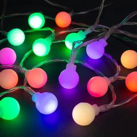 """Гирлянда """"Нить"""" 3 м с насадками """"Шарики"""", IP20, прозрачная нить, 20 LED, свечение мульти, фиксинг, 3 х AA"""