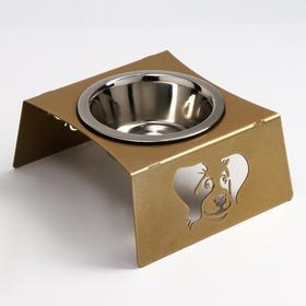 Миска напольная металл. д/животных 1 мет миска/D-16см 500мл, выс.9см золотой