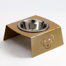 Миска напольная металл. д/животных 1 мет миска  /D-14см 350мл, выс.9см золотой