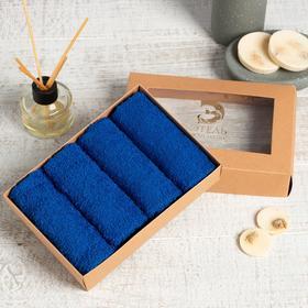 Набор махровых салфеток «Синий» 30х30 см -4 шт, 100% хл, 340гр/м2