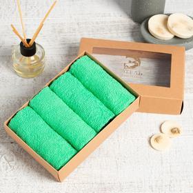 Набор махровых салфеток «Светло-зелёный» 30х30 см -4 шт, 100% хл, 340гр/м2