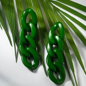 "Серьги пластик ""Цепь"" 4 звена, цвет тёмно-зелёный"