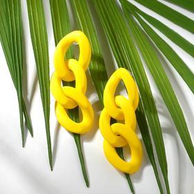 """Серьги пластик """"Цепь"""" 3 широких звена, цвет матовый жёлтый"""