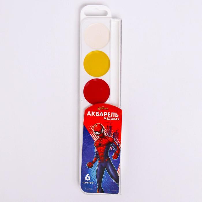 Акварель медовая «Человек-паук», 6 цветов, без кисти