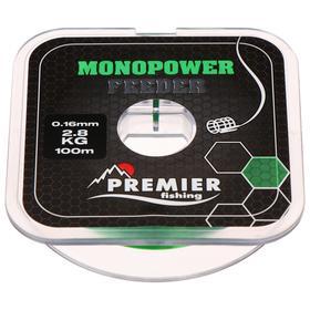 Леска Premier fishing MONOPOWER Feeder, green, 0,16 мм/100 м