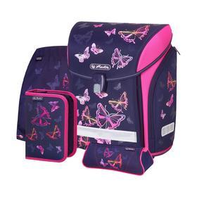 Ранец на замке Herlitz MIDI PLUS, 38*32*22, с наполнением: мешок, пенал; Butterfly