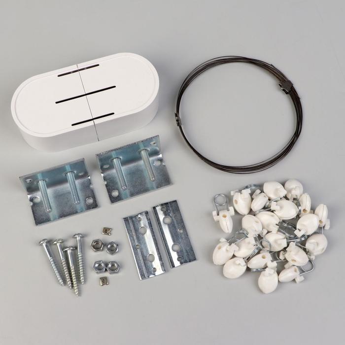 Карниз-струна 3,5 м, с пластмассовыми зажимами, 20 шт, цвет белый