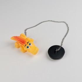 Пробка для ванны с игрушкой Доляна «Крокодил», d=4,8 см, цепочка 40 см Ош