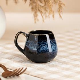 """Чашка """"Бочка"""", глазурь, матовая, чёрно-голубая, 70 мл"""