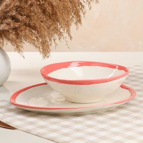 """Набор тарелок """"Обеденный"""", 2 предмета, фламинго, розово-белый"""