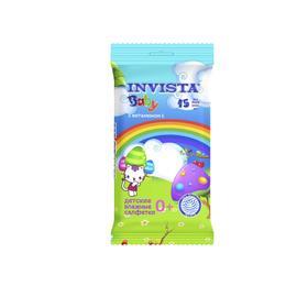Влажные салфетки INVISTA Lux  для детей с первых дней жизни с витамином Е, 15 шт.