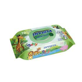 Влажные салфетки INVISTA Lux  для детей с первых дней жизни, с клапаном, 72 шт.