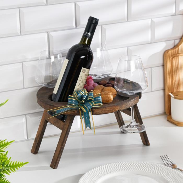 """Винный столик деревянный """"Joy"""" эбеновое дерево"""