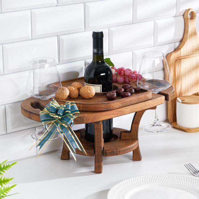 """Винный столик деревянный """"Premium 2"""" орех"""