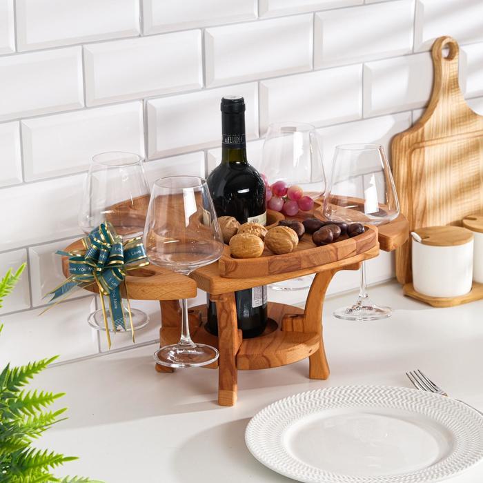 """Винный столик деревянный """"Premium 2"""" сандал"""