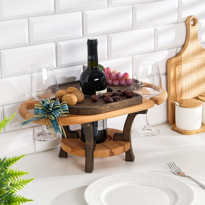 """Винный столик деревянный """"Premium 2"""" сандал/эбеновое дерево"""