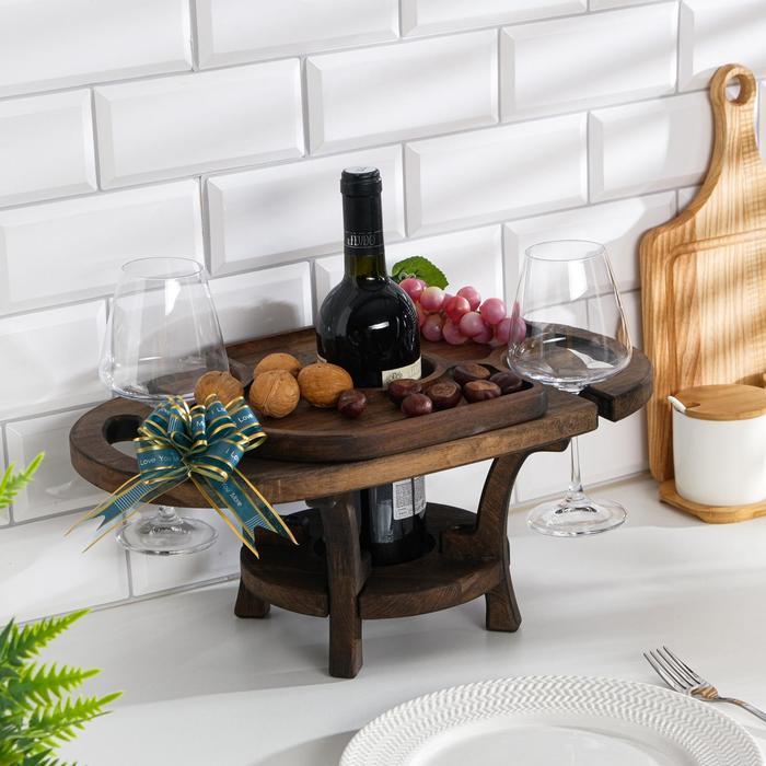 """Винный столик деревянный """"Premium 2"""" эбеновое дерево"""