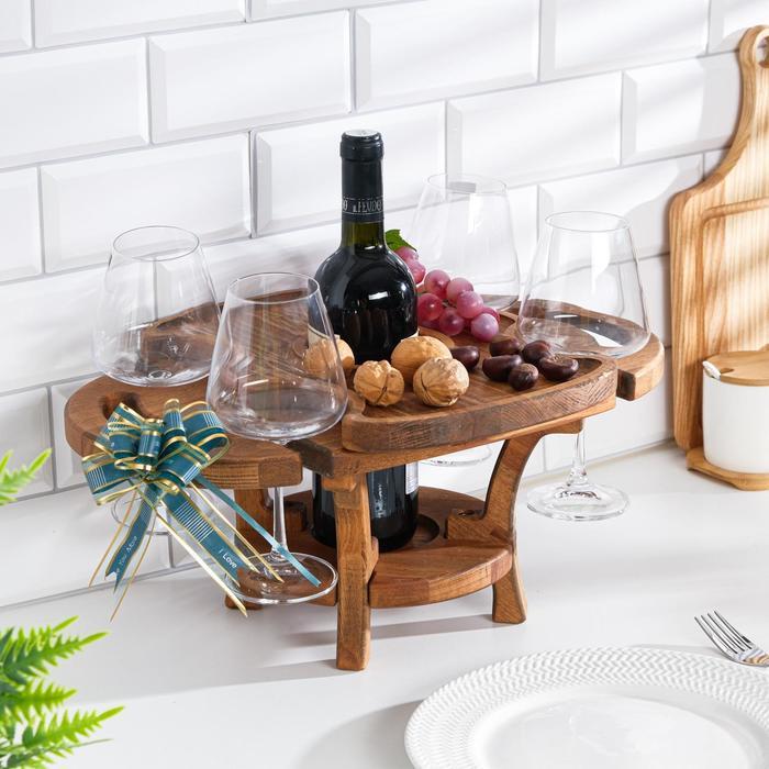 """Винный столик деревянный """"Premium 4"""" орех"""