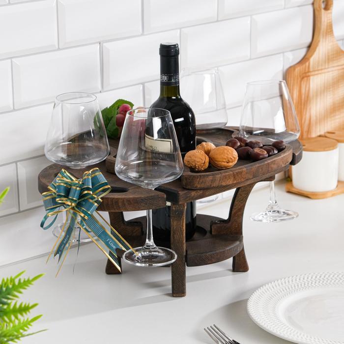 """Винный столик деревянный """"Premium 4"""" эбеновое дерево"""