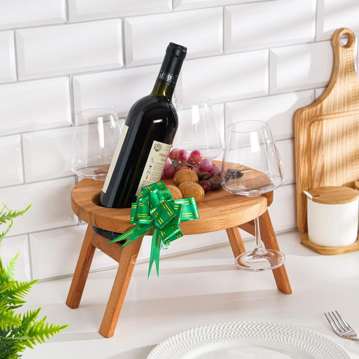 "Винный столик деревянный ""Round"" сандал"