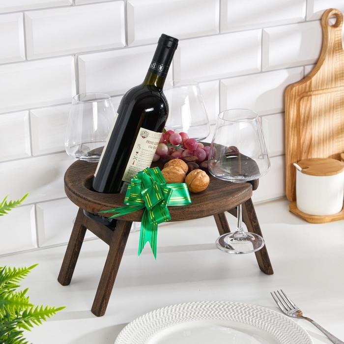 """Винный столик деревянный """"Round"""" эбеновое дерево"""