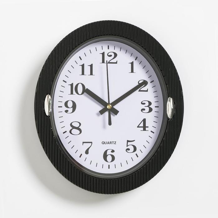Часы настенные, серия Классика, Бенедатта, 19х22 см черные,