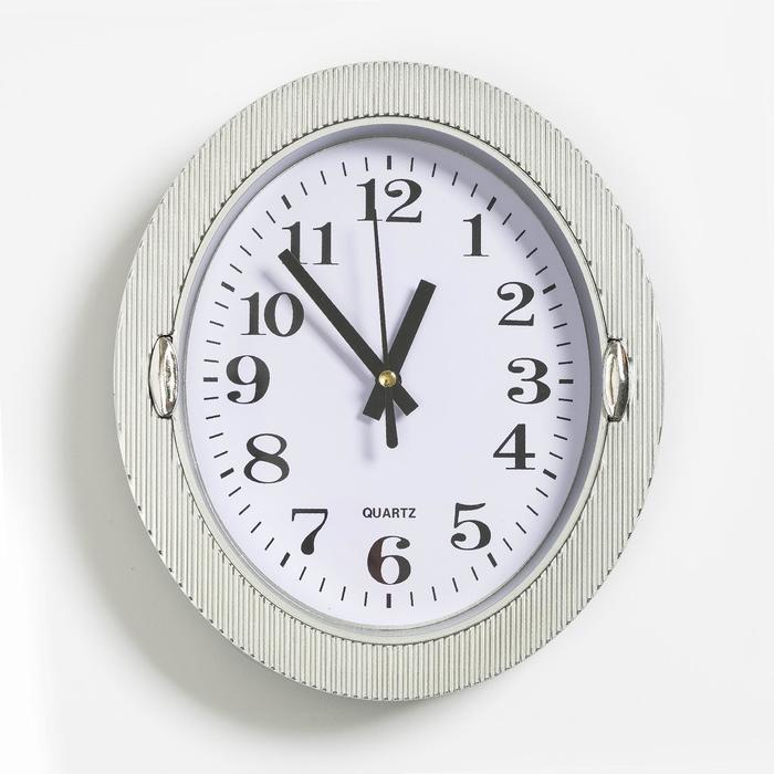 Часы настенные, серия Классика, Бенедатта, 19х22 см серые