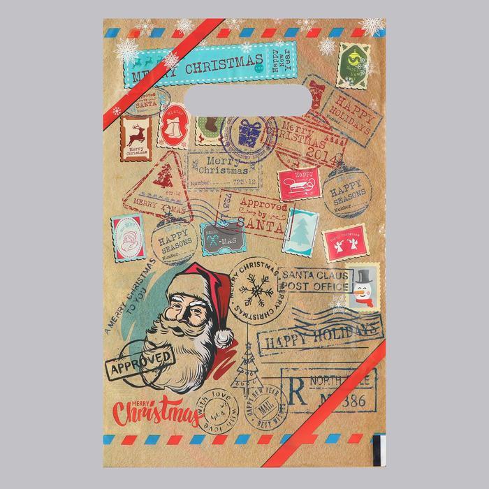 Пакет Новогодняя почта, полиэтиленовый с вырубной ручкой, коричневая, 20х30 см, 30 мкм