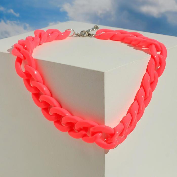 Колье Цепь диагональ, цвет неоново-розовый, 45см