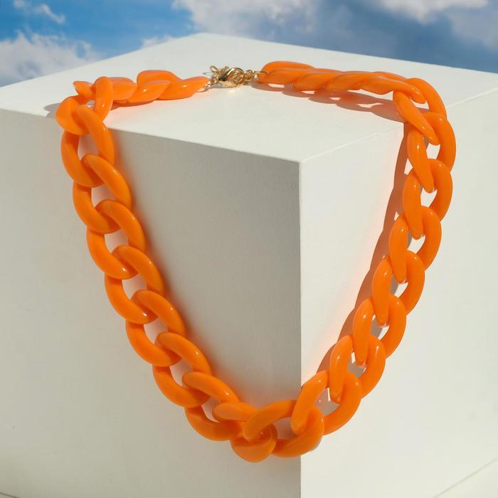 Колье Цепь диагональ, цвет оранжевый, 45см