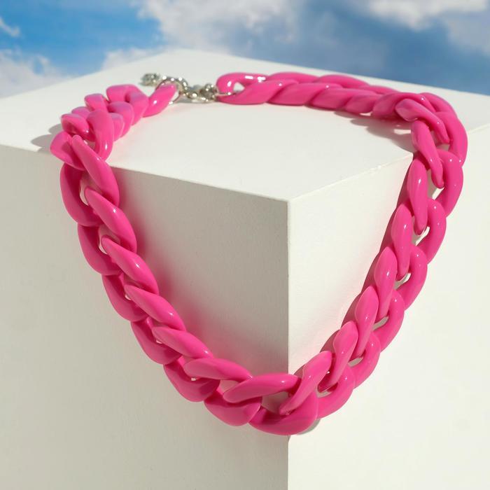 Колье Цепь диагональ, цвет розовый, 45см