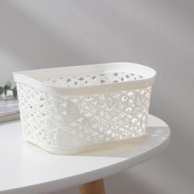 Корзинка без крышки Fiori mini, прямоугольная, 1 л, цвет молочный