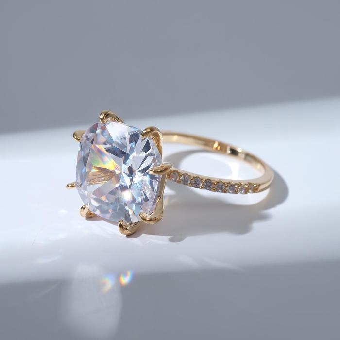"""Кольцо """"Блеск"""" узор, цвет белый в золоте, размер 19"""