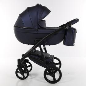 Коляска детская 2в1 TAKO LARET NEW PREMIUM TLP-05, цвет кожа темно синяя/короб темно синий/рама черн