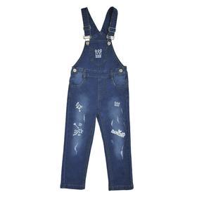 Полукомбинезон джинсовый для девочек, рост 86 см