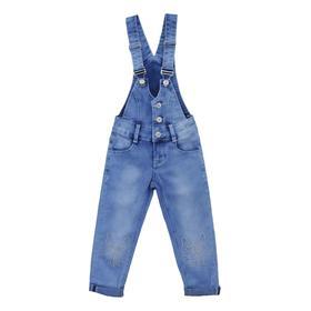 Полукомбинезон джинсовый для девочек, рост 92 см, цвет голубой