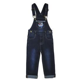 Полукомбинезон джинсовый для мальчиков, рост 80 см, цвет синий