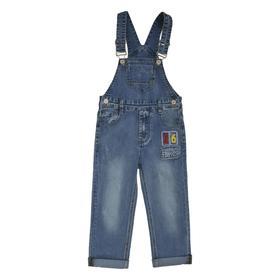 Полукомбинезон джинсовый для мальчиков, рост 86 см