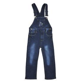 Полукомбинезон джинсовый для мальчиков, рост 86 см, цвет синий