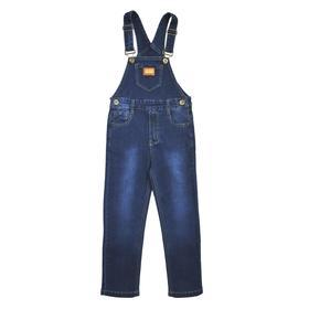 Полукомбинезон джинсовый для мальчиков, рост 92 см, цвет синий