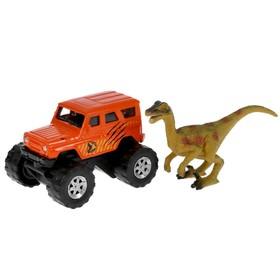 Машина металлическая «UAZ хантер», 7,5 см, динозавр 9 см