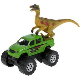 Машина металлическая «UAZ пикап», 7,5 см, динозавр 9 см