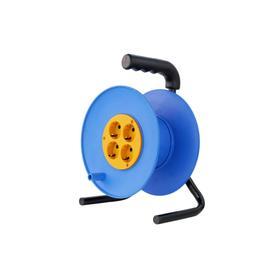Катушка без провода GLANZEN EL-00-240Z, 4 розетки, с з/к, Ф240 мм, синий/жёлтый Ош