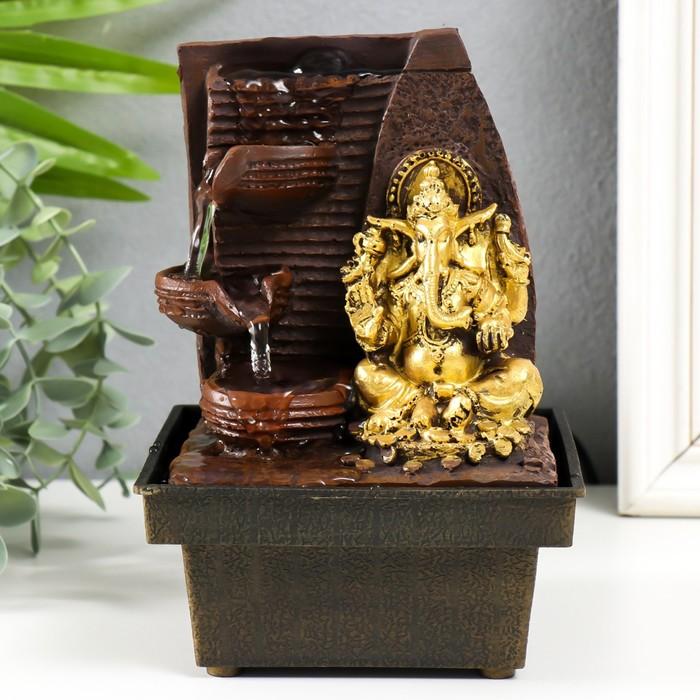 Фонтан настольный от сети Золотой Ганеша - природный фонтан 19х12,5х12,5 см